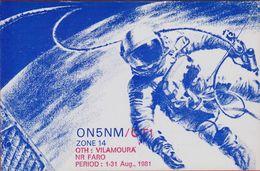 QSL Card Amateur Radio Station CB 1981 Astronaut Space Spaceflight Ruimtevaart Deurne Faro Vilamoura Portugal - Radio Amatoriale