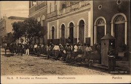 Cp Manaos Manaus Brasilien, A Borracha No Amazonas, Beneficiamento, Straßenpartie, Anwohner - Brésil