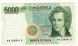 REPUBBLICA ITALIANA - 5000 LIRE VINCENZO BELLINI -  FIOR DI STAMPA - DECR. 04/01/1985 - CIAMPI - STEVANI  - LA001070A - [ 2] 1946-… : Républic