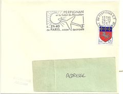 PYRÉNÉES ORIENTALES - Dépt N° 66 = PERPIGNAN 1967 = FLAMME SUPERBE = SECAP 'AVION  QUOTIDIEN / 2h40 De PARIS ' - Postmark Collection (Covers)