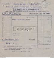 13 1278B MARSEILLE 1939 DISTILLERIE SAINTE MARTHE J.H RICARD ( Pastis Distilleries ) 48 - 50 Rue Smith ( Perrache ) - Alimentos