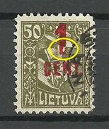 "LITAUEN Lithuania 1922 Michel 147 OPT Error Damaged ""1"" O - Litauen"