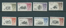 Falkland Islands 1960 QEII Bird Definitives 8 Values 3d -> 2 Shilling Goose MLH - Falkland Islands