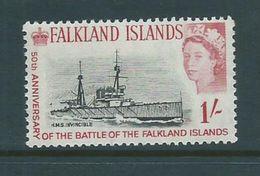 Falkland Islands 1964 Ship Battle Anniversary 1 Shilling HMS Invincible MNH - Falkland Islands