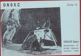 QSL Card Amateur Radio Station CB 1974 Astronaut Space Spaceflight Ruimtevaart Merksem Apollo Moon Landing Lunar - Radio Amateur