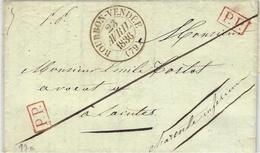 1836- Lettre De BOURBON - VENDEE  ( Vendée ) Cad T13   + P.P. X 2  Pour Saintes - 1801-1848: Precursors XIX