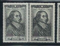 [18] Variété :  N° 614 Pascal Gris Au Lieu De Noir + Normal ** - Varieties: 1941-44 Mint/hinged