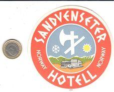 ETIQUETA DE HOTEL  -SANDVENSETER HOTEL - NORWAY (NORUEGA) - Adesivi Di Alberghi