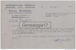 38 2566 DECINES ISERE 1948 Representation Generale MARCEL BLONDEL Agent Fabriques Avenue A. GODARD - France