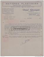 38 2583 DECINES ISERE 1917 Matieres Plastiques RENE GRANGER Rue Gutenberg A Vuenat - France