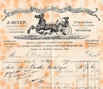 1897 PARIS - BOTTINES Pour CHEVAUX DE COURSE, HARNAIS AMÉRICAINS - J.MEYER - Documents Historiques