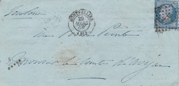 LSC  +  PC  2128  MONTPELLIER  ( HERAULT )  Pour LE COMTE D'AVEJAN à TOULOUSE ( HAUTE GARONNE ) DU 29 MARS 1858 - 1849-1876: Période Classique