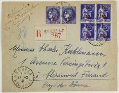 Enveloppe Recommandée 1941 Grabels, Hérault --> Clermont-Ferrand, Affr. 4f Paire Ceres YT 487 Et Bloc 4 Paix Surch. 479 - Brieven En Documenten