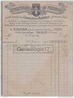 75 16 841 PARIS SEINE 1906 Chocolaterie CHOCOLAT DE MONTREUX Des Ets L. SIGEAN Rue Rambuteau - 1900 – 1949