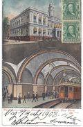 New York - Underground Lop Station At City Hall - 1913 - Belle Colorisée - Circulé New York/France, Côte D'Or En 1908 - Transports