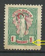 LITAUEN Lithuania 1920 Michel 73 ERROR Abart Swifted Red Print To Left (*) - Litauen