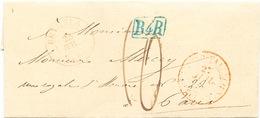 847/25 - Lettre De BEVERLOO 1845 Vers PARIS - Marque De Rayon Bleue B4R De Bruxelles , Taxation 10 Décimes - 1830-1849 (Belgique Indépendante)