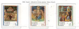 PIA  -  CIPRO  GR.  -  1988  : Natale : Affreschi Di Chiese Cipriote -  (Yv  704-06) - Chypre (République)