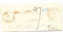 849/25 - Lettre De MALINES 1838 Vers PARIS - Marque De Rayon B3R Bleue De Bruxelles  , Taxation 9 Décimes - 1830-1849 (Belgique Indépendante)