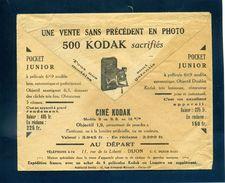 Pub Kodak Au Verso Lettre Chèques Postaux Dijon Franchise 1933 Pour Vilars Les Blamont Doubs - Photographie