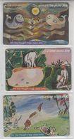 ISRAEL 2001 NACHUM GUTMAN LUVENGULU KING OF THE ZULU SET OF 3 CARDS - Israel