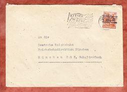 Brief, EF Arbeiter Netzaufdruck, MS Kieler Woche Voelkerverstaendigung Kiel, Nach Muenchen 1948 (45009) - American/British Zone