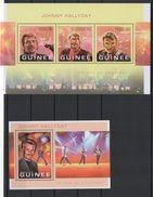 Guinée 2013 Johnny Hallyday Feuillet Et Bloc Officiel Neufs ** - Musique
