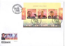 Guinée 2013 Johnny Hallyday Feuillet Et Bloc Officiel FDC Enveloppes 1er Jour - Musique