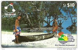 SOLOMON ISLANDS $10 BOYS WITH CANOE 1ST TYPE WITH SP LOGO 1995 GPT CODE: SOL-09 READ DESCRIPTION !! - Solomon Islands