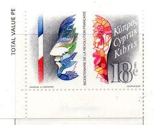 PIA  - CIPRO GRECA  - 1989  : Bicentenario Della Rivoluzione Francese -  (Yv  716) - Cipro (Repubblica)