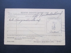 USA 1919 Registry Dispatch Receipt Card. Sand Brook N.J. Flemington N.J. Interessante Karte!! - Briefe U. Dokumente