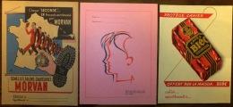SUPER LOT 3 PROTEGE-CAHIERS + 10 BUVARDS NEUFS- AVEC PUB- TOUS DIFFÉRENTS- 3 SCANS - Buvards, Protège-cahiers Illustrés