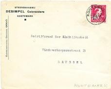 881/25 - Lettre TP Moins 10 %  Surcharge Locale KORTEMARK - Entete Steenbakkerij Desimpel Gebroeders - 1946 -10%