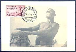 1957 , GUINEA ESPAÑOLA , ED. 311 - SERIE BÁSICA , INDÍGENA CON TAM - TAM , MAT. SANTA ISABEL / FERNANDO POO - Guinea Española