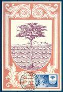 1958 , GUINEA ESPAÑOLA , ED. 363 - DIA DEL SELLO , ESCUDO DE BATA , MAT. SANTA ISABEL / FERNANDO POO - Guinea Española