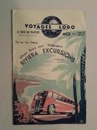 Dépliant Touristique - Nice, Voyages Lodo - Riviera Excursions En Cars Pullman Illustrée Par Efff Dhey - Dépliants Touristiques