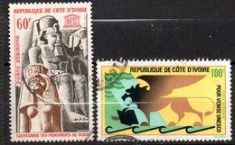 Lot De 2 Timbres Oblitérés -sujets UNESCO     - Côte D'Ivoire - Ivory Coast (1960-...)