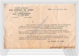 08 564 GIVET ARDENNES Et  SEES 61 ORNE 1941 StÂŽ Des FORGES DE CINEY --   CONGES PAYES - France