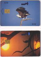 LOT 2 TC - Télécarte à Puce ZIMBABWE - OISEAU Rapace AIGLE PECHEUR & ANHINGA - Africa Chip Phonecard EAGLE Bird - 4220 - Zimbabwe