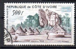 Lot De 1 Timbre Oblitéré  -sujets  Paysages Région De Man  - Côte D'Ivoire - Ivory Coast (1960-...)