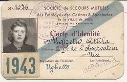 CASINO DE NICE 1943 . CARTE IDENTITE DES EMPLOYES - Vieux Papiers