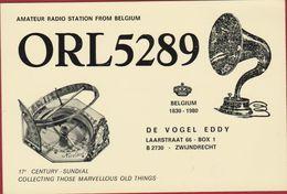 QSL Card Amateur Radio Station CB Belgian Begium Eddy De Vogel Zwijndrecht 17th Century Sundial Watch 1980 - Radio Amatoriale
