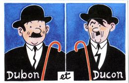 TINTIN  HERGE   DUBON ET DUCON   CLUB NEUDIN N° 156  -  TRES BELLE  ILLUSTRATION  ANDRE ROUSSEY - Stripverhalen