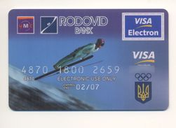 UKRAINE Credit Card Bankcard RODOVID Bank Exp 02.2007 VISA Sport Skiing Ski Jumping - Geldkarten (Ablauf Min. 10 Jahre)