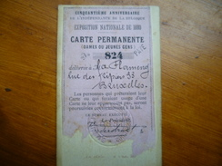 Carte ENTREE PERMANENTE EXPO Nationale BRUXELLES 1880 (50eme Anniv BELGIQUE) - Tickets D'entrée