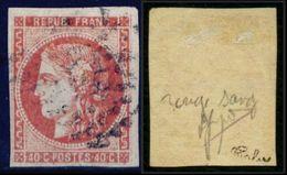France N° 48d Rouge Sang Clair Obl. GC - Signé Calves - Cote 1000 Euros - TB Qualité - 1870 Bordeaux Printing