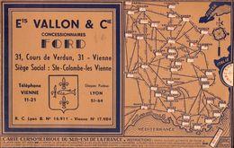 Carte Cursometrique, Sud Est De La France, Concessionnaires Ford, Ste Colombe Les Vienne   (bon Etat)  Dim : 22 X 14. - Maps