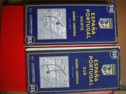 Lots De Deux Cartes Michelin: Espagne Et Portugal -1959 - Roadmaps