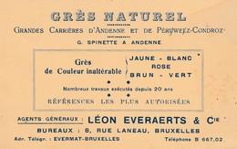 Andenne ,carte Publicité ,grande Carrières D'Andenne Et Perwez -Condroz (erreur)G.Spinette ;Bureau Bruxelles L.Everaert - Ohey