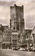 Cpsm 62 BETHUNE  Eglise Saint-Vaast , Vue Peu Courante, Animée, Commerces Dont Chapellerie, Véhicules Dauphine, Traction - Bethune